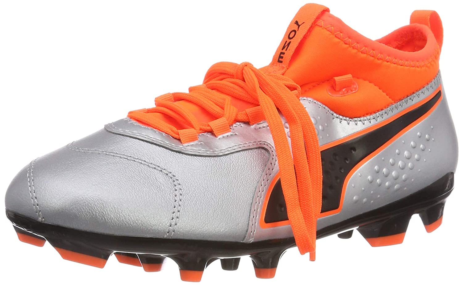 Puma One 3 LTH AG Jr, Zapatillas de Fútbol Unisex Niños 32 EU|Plateado (Puma Silver-shocking Orange-puma Black 01)