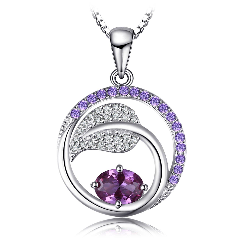 JewelryPalace Blatt 1.4ct Erstellt Alexandrit Saphir Lila Zirkonia Anhänger 925 Sterling Silber 18 Zoll EU-AP706361N18