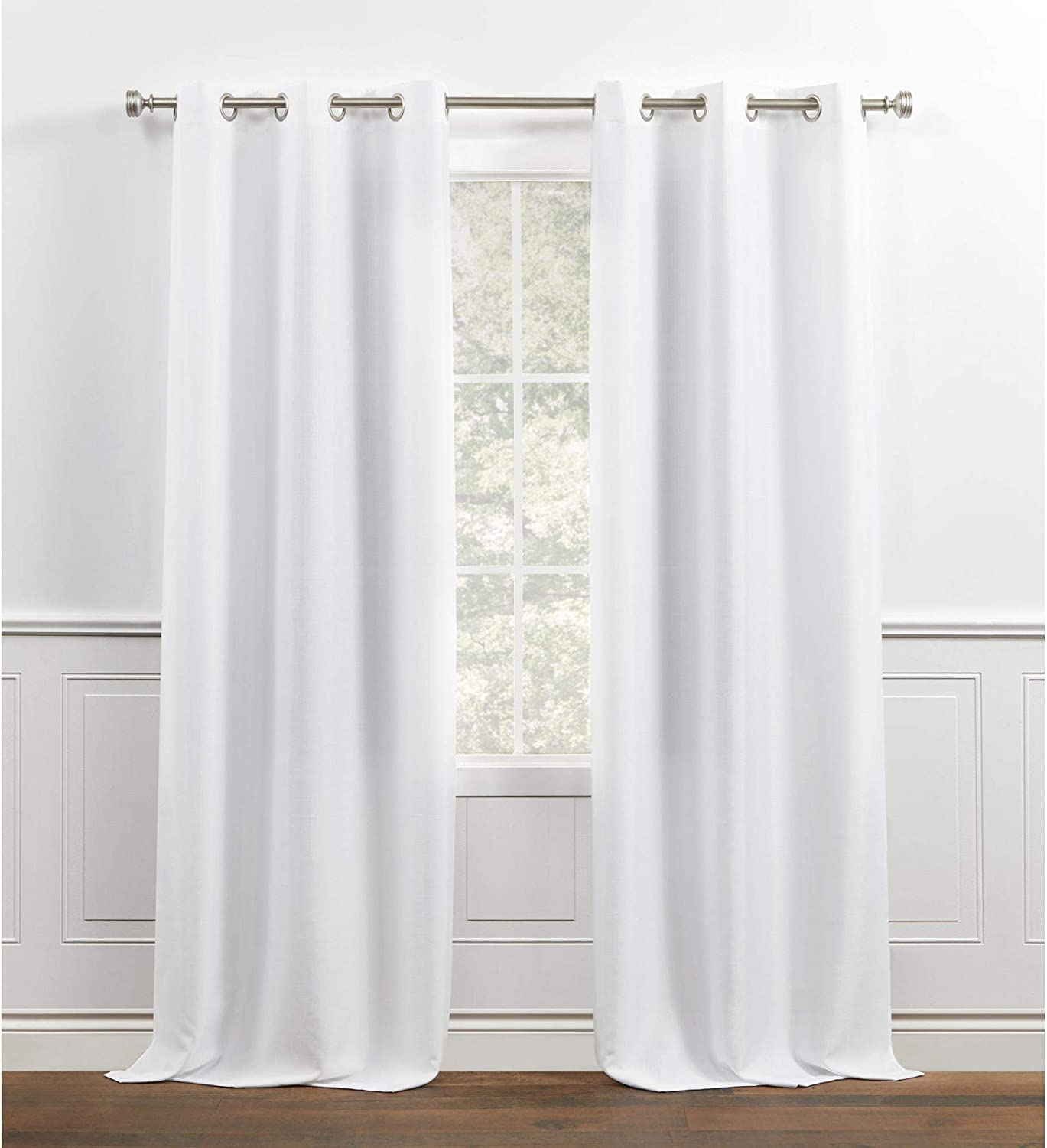 Chaps Lise Solid Textured Linen Look Grommet Top Curtain Panels, 38x84, White
