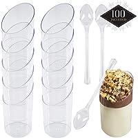 100 Copas de Postre de Plástico Desechables, Tazas