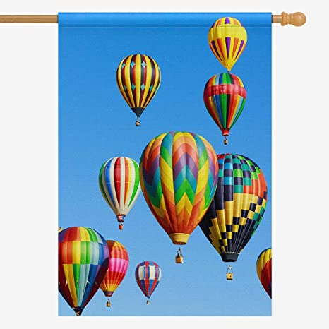 Amazon Com Interestprint Decorative Flag Colorful Hot Air Balloons Over Blue Sky House Flag House Banner For Wishing Party Wedding Yard Oxford Cloth Home Decor 28 X 40 Without Flagpole Garden