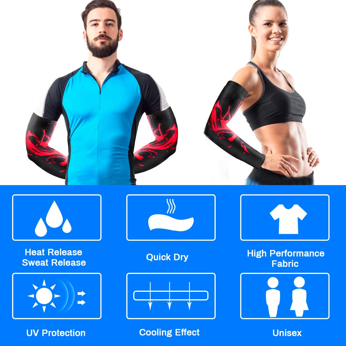 Laelr Sports Arm Sleeves 1 Pair Arm Warmers Hands Compression Cover UV Protection Cooling Arm Sleeve Glove Long Sun Sleeves for Running Cycling Driving Fishing