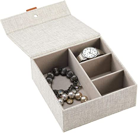 mDesign Caja joyero de tela – Elegante caja con tapa y 4 compartimentos para guardar joyas – Caja organizadora idónea para anillos, collares, relojes, pulseras y mucho más – gris claro: Amazon.es: Hogar