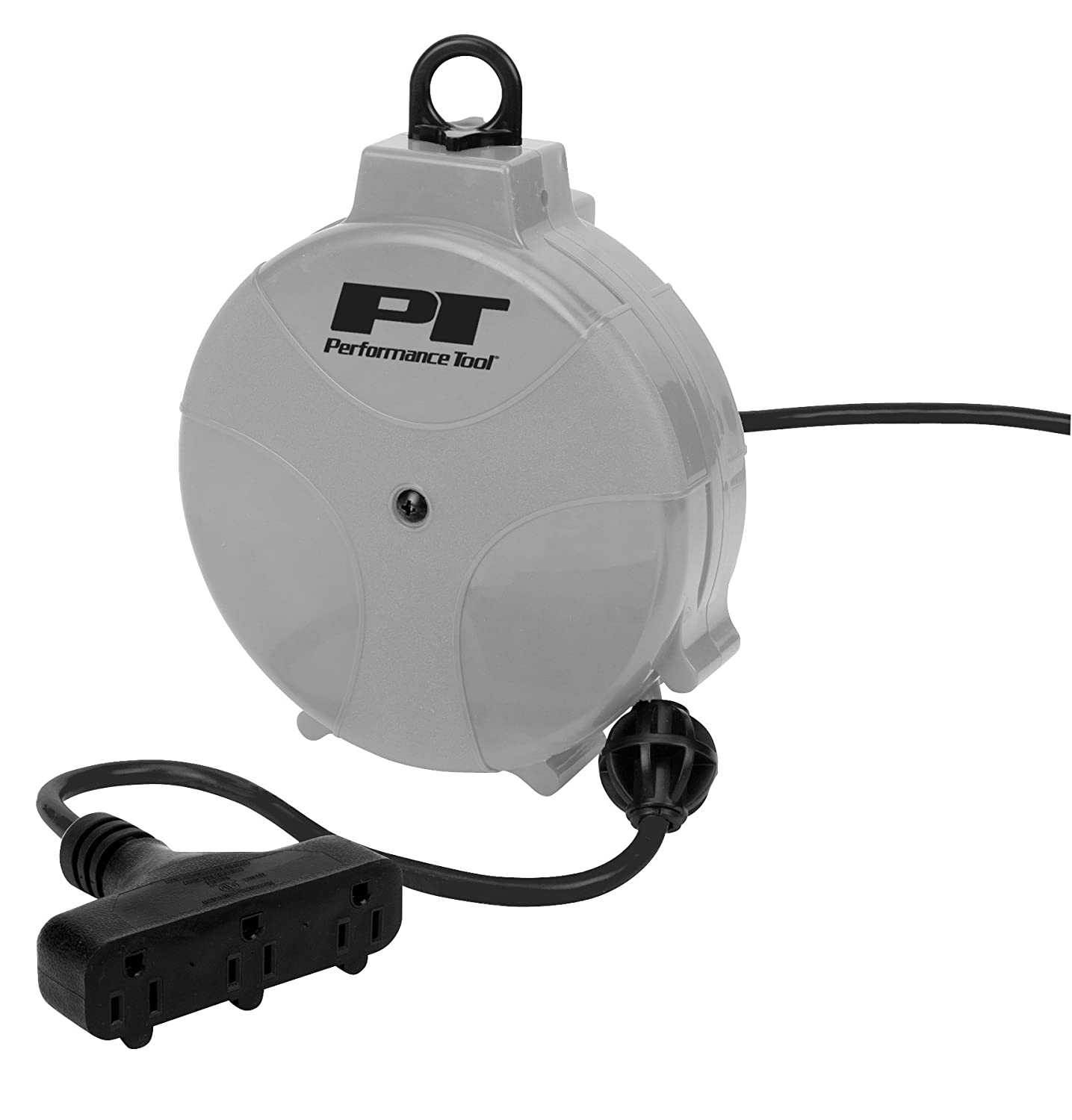 Performance Tool W2273 50ft 16 Gauge, Retractable Cord Reel with Guided Return - Install On Ceiling, Wall, Floor, or Workbench