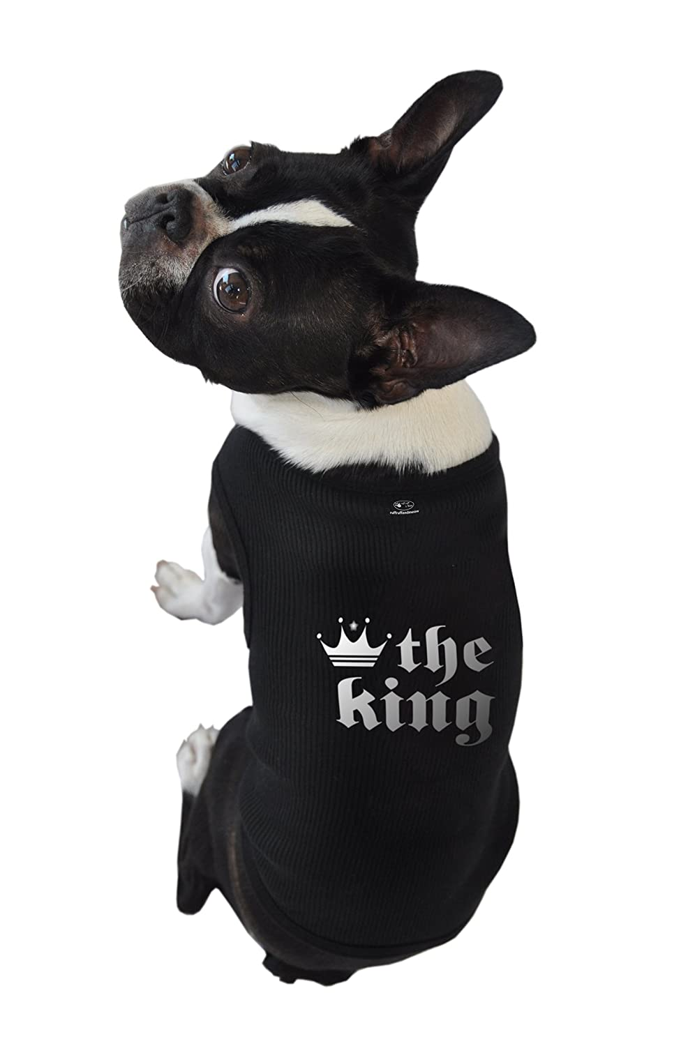 Ruff Ruff and Meow Extra-Large Dog Tank Top, The King, Black