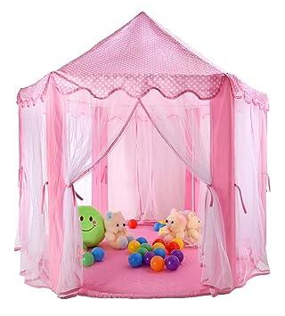 TIENO 55u0026quot; x 53u0026quot; Children Indoor Play Tent Princess Castle Playhouse for Kids Pink  sc 1 st  Amazon.com & Amazon.com: TIENO 55