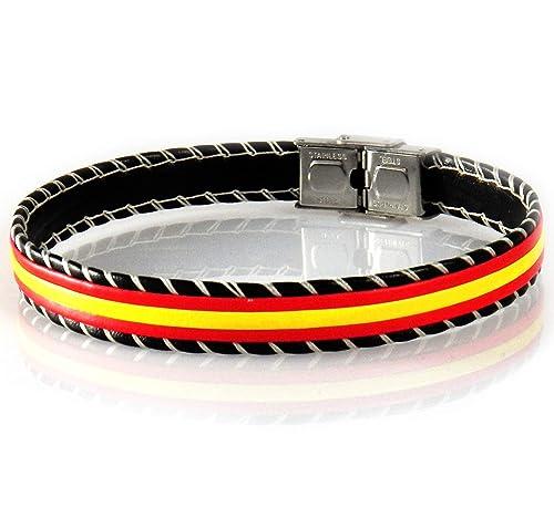f6c816a22121 AKIEE Pulsera Hombre Cuero Bandera España Brazalete con Cierre De Acero  Inoxidable - 24 cm Ajustable