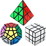 Speed Cube Set Bundle Pack of 3, Pyraminx Magic Puzzle Cube, Megaminx Speedcubing and Silver Mirror Cube Black, Great Gift for Kids and Adults