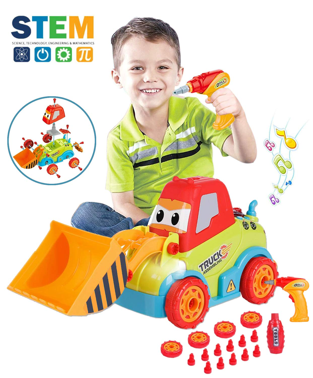 LUKAT Take Apart Toys Truck Toddler DIY Assembly Construction Bulldozer with Drill Tool/ Music/ Lights, Kids STEM Toy Car for 3-4-5 Years Old Boys Preschool Learning