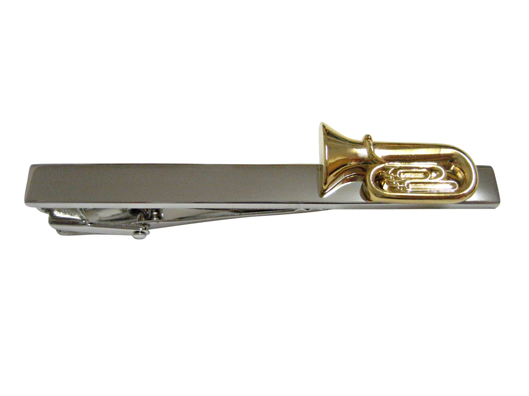 Gold Toned Tuba Musical Instrument Square Tie Clip