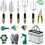 YISSVIC Garden Tools Set 12 Pieces Heavy Duty Gardening Kit cast Aluminum with Soft Rubberized Non-slip Handle,Durable Storage Tote Bag and Pruning Shears, Gardening Supplies Gifts for Men Women