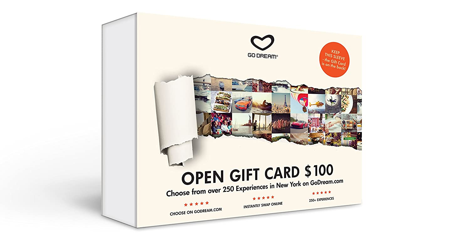 GO DREAM Open Experience Gift card - Get Access to More Than 150 Experience Gifts Within New York Area - Sent in a Gift Package (100)