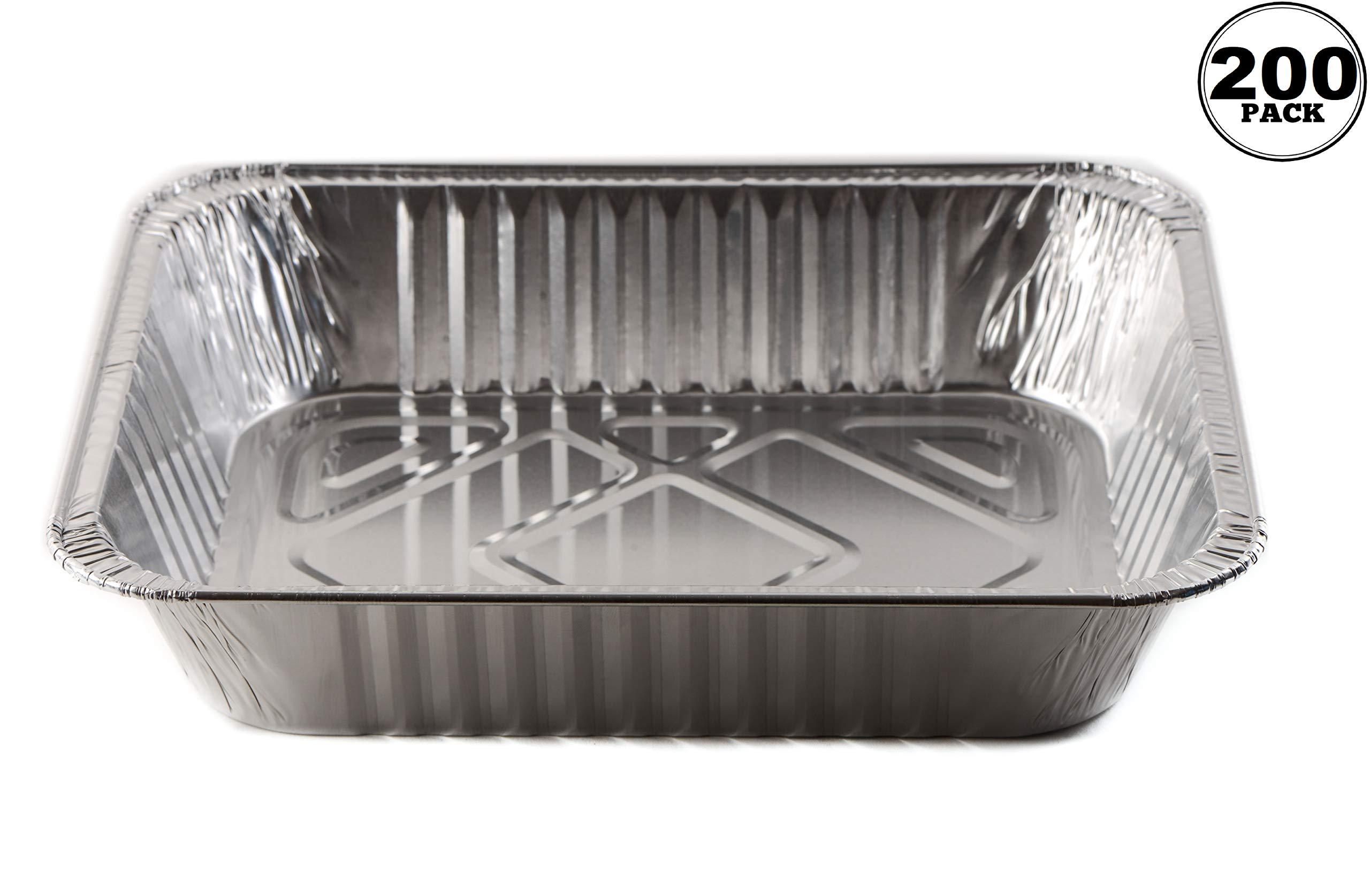 [200 Pack] 9 x 13 Disposable Aluminum Foil Steam Table Deep Pans - Half Size Baker's Choice Great for Roasting, Potluck, Reheating, Catering, Party, BBQ, Baking by EcoQuality