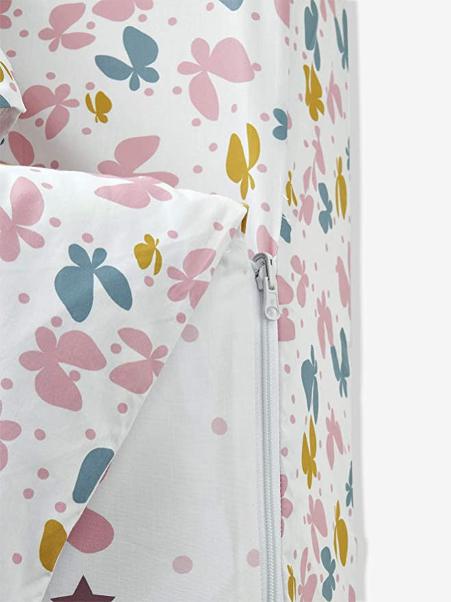 Vertbaudet 4-teiliges Schlafsack-Set Schmetterlinge wollwei/ß 90x140