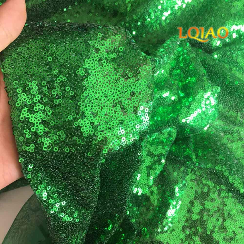 LQIAO 2019 Apple Green Sequin Fabric Elegant Shimmer Sequin Fabric by The Yard for Shower Curtain Drawer Storage Cubes Mermaid Tail Wedding Dress Home Curtain DIY