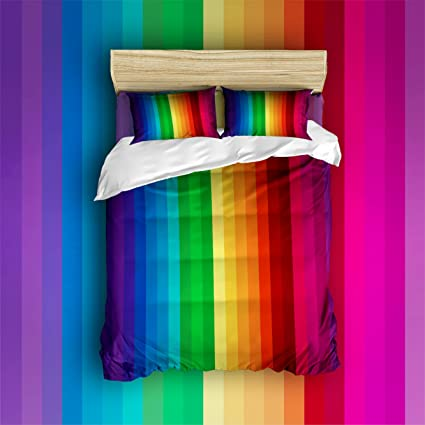 Amazon.com: Libaoge 4 Piece Bed Sheets Set, Colorful Stripes, Ethnic ...