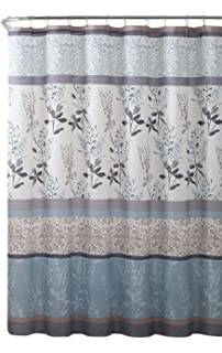 Merveilleux VCNY Home Ashley Light Blue Beige Grey Canvas Fabric Shower Curtain:  Contemporary Floral Bordered Damask