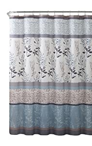 VCNY Home Ashley Light Blue Beige Grey Canvas Fabric Shower Curtain: Contemporary Floral Bordered Damask Design, 72 by 72 Inches
