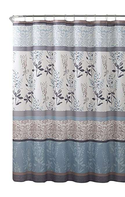 VCNY Home Ashley Light Blue Beige Grey Canvas Fabric Shower Curtain Contemporary Floral Bordered Damask