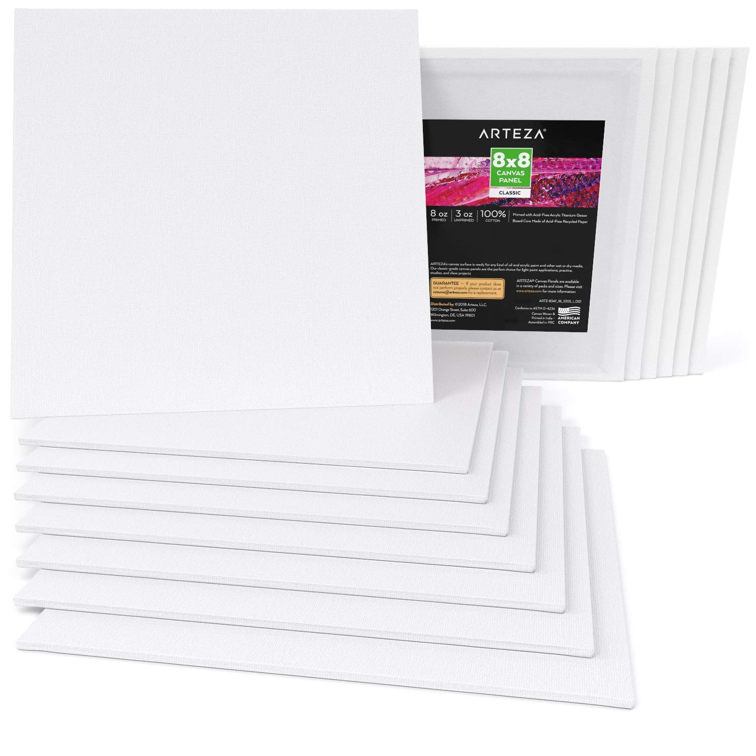 """Hobby Painters /& Beginners Bulk Pack of 14 Arteza 8x8/"""" White Blank Canvas Panels Boards Canvases for Professional Artist 100/% Cotton for Acrylic Painting Oil Paint /& Wet Art Media Primed"""
