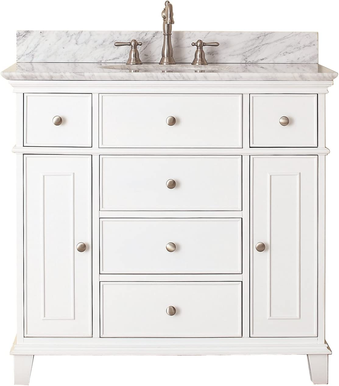 Avanity Windsor 36 In Vanity With Carrera White Marble Top And Undermount Sink In White Finish Bathroom Vanities Amazon Com