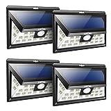 4PZ Litom 24 LED Lampada Solare con Sensore Movimento, Luce da Esterno ad Energia Solare Impermeabile Sensore di Movimento 3 Modalità per Giardino, Patio, Parete, Cortile, Scale, Muro - Nero