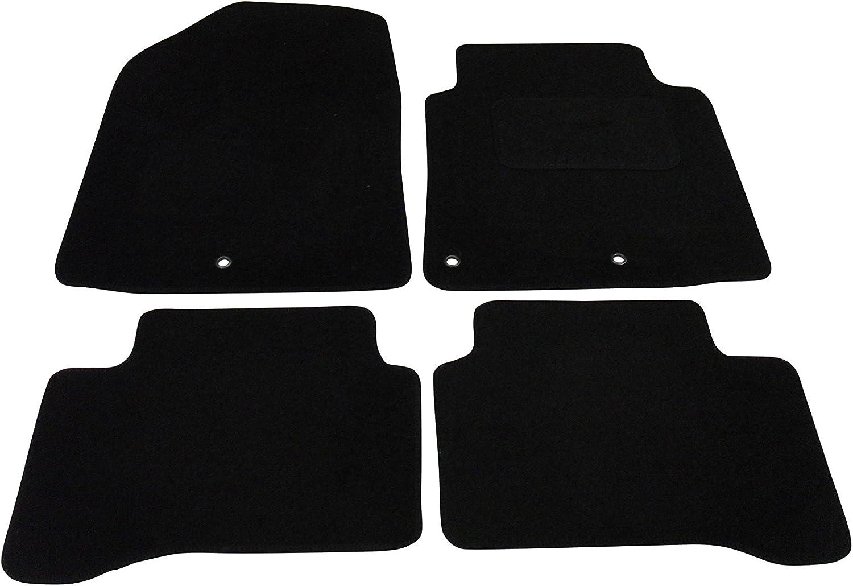 Black Double Thick Heel Pad Black Ribbed Trim Tailored Car Mats for Hyundai IONIQ 2016-2019 Black Carpet