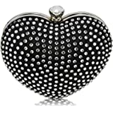 Diamante Clutch Bag Heart Design Luxury New Stones Evening Party Ladies Handbag Newlook