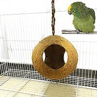 yunt pájaro cueva Casa de coco natural, con 3agujeros, Bird Nest House para Pet Parrot loros Ninfa loros loros etc.