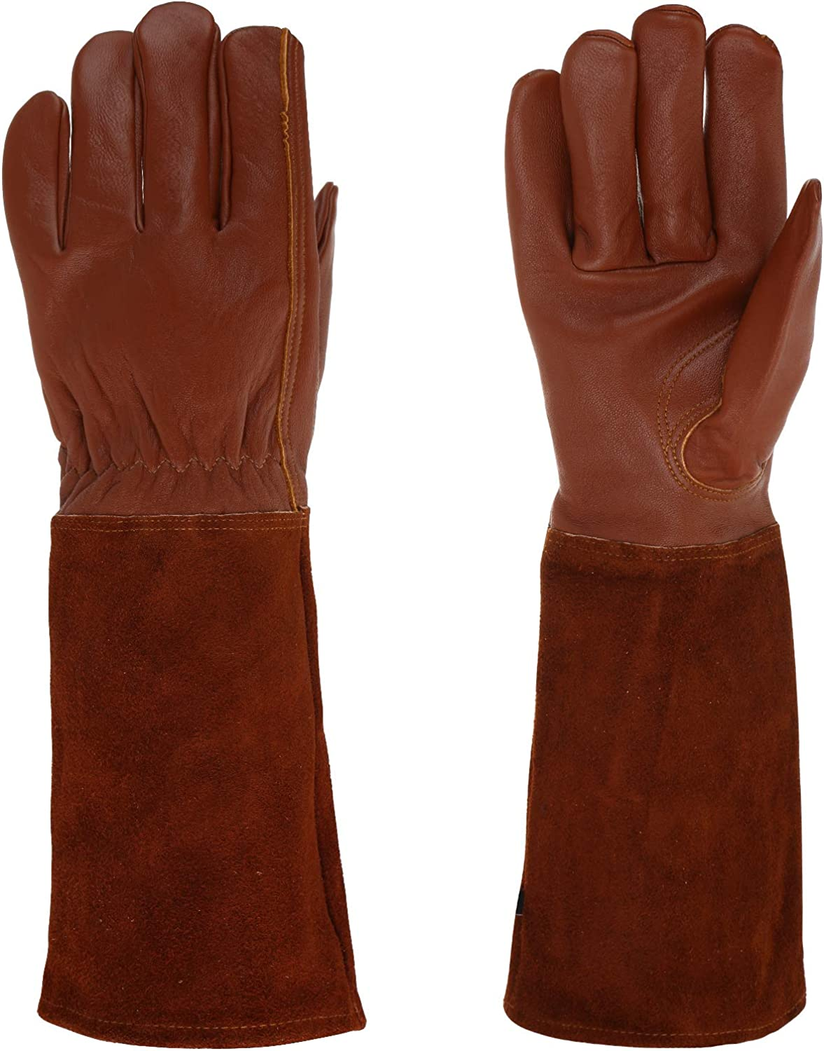 RXG Rose Pruning Gloves Long Sleeves for Men and Women Breathable Goatskin Leather Stab-resistant Garden Gloves Best Gardening Gifts and Tools for Gardeners and Farmers