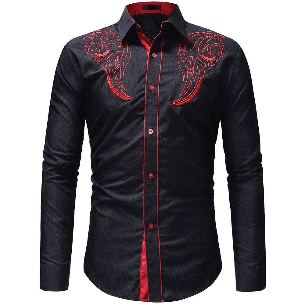 Xiarookp T-Shirt for Men Long Sleeve Formal Shirts Casual Embroidery T-Shirt Autumn Winter Top Blouse,Black by Xiarookp