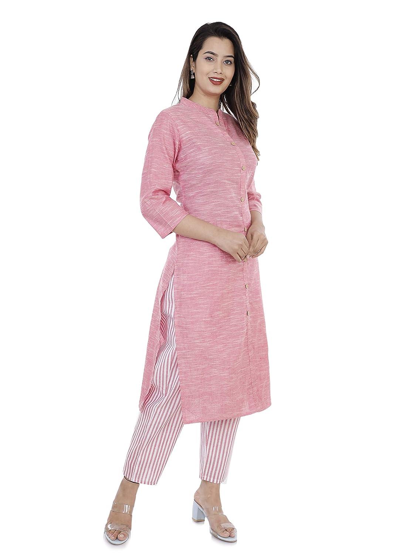 Pink Color Cotton Kurta with Pant Set Collection 2021