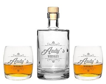 FORYOU24 2 Edle Whiskeygläser mit Whiskeykaraffe und Gravur Whiskey ...