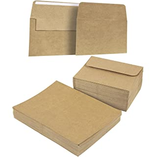 Amazon 100 pack brown kraft grocery bag paper a7 envelopes for 100 piece brown kraft paper a7 envelopes and 100 sheet half fold greeting m4hsunfo