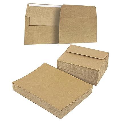 56f54fc81 200 unidades, color café kraft papel bolsa de comestibles A7 sobres y  tarjetas de cartulina