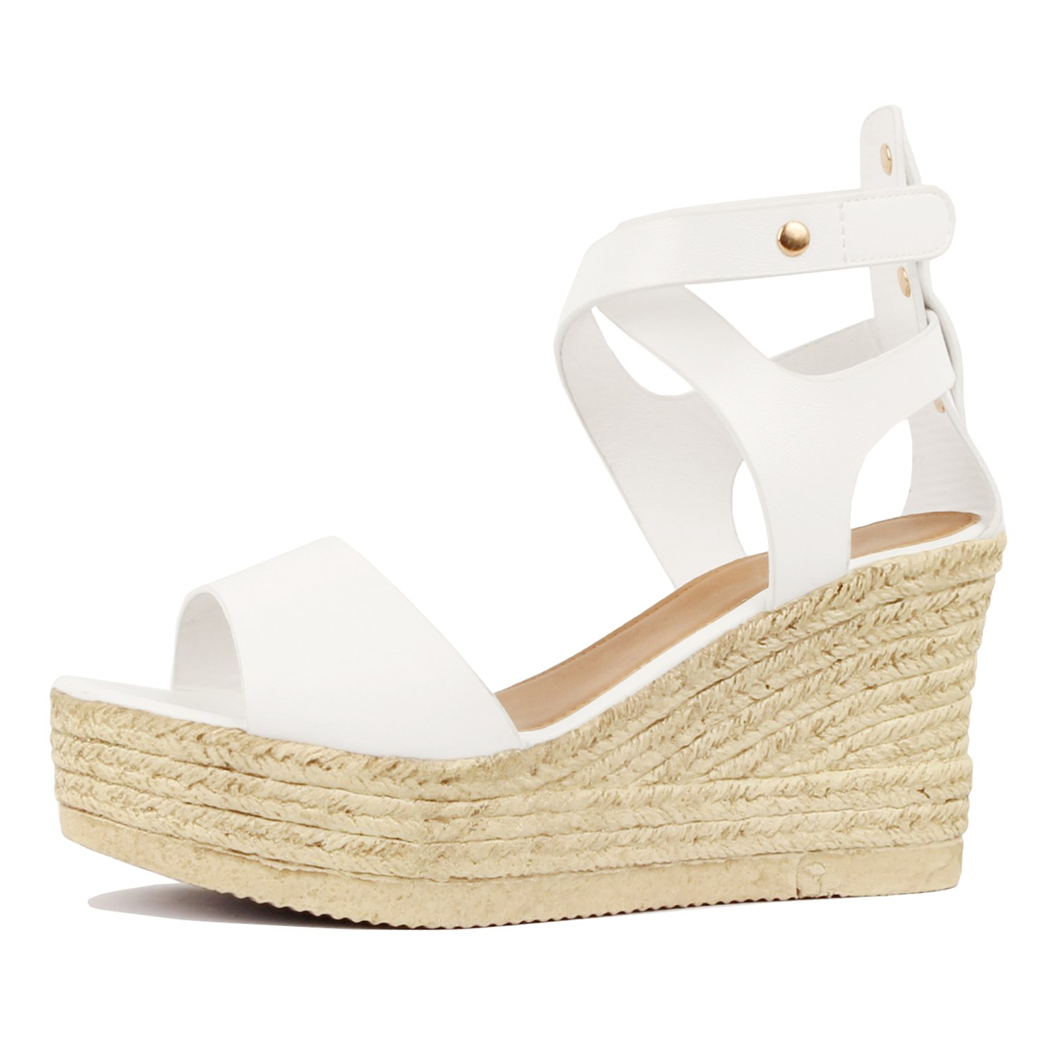Guilty Heart - Womens Casual Comfortable Braided Bottom Platofrm Open Toe Summer Wedge Sandal Platforms & Wedges (8 B(M) US, 02 White Pu)