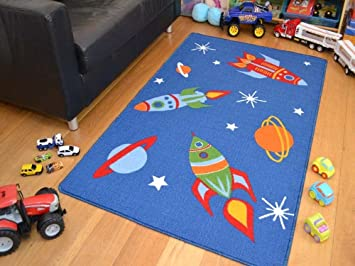 Space Rockets Planets Rugs Childrens Bedroom Mats High Quality