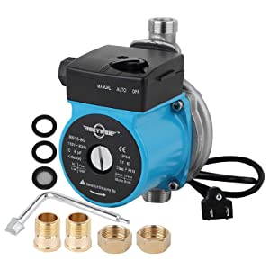 BOKYWOX 120W 110-120V Food Grade Automatic Circulator Booster Pump NPT 3/4'' Stainless Steel Domestic Hot Water Circulation Pump(RS15/9SB)