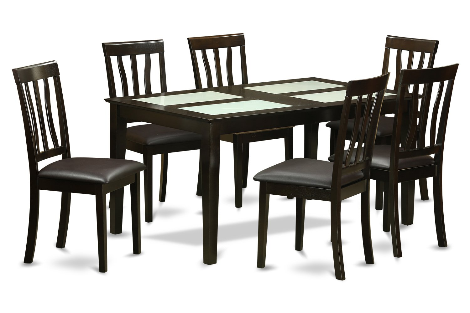 East West Furniture CAAN7G-CAP-LC 7-Piece Dining Table Set