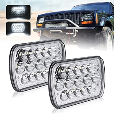 "(2 Pcs) DOT approved 5"" x 7"" 6x7inch Rectangular LED Headlights for Jeep Wrangler YJ Cherokee XJ Trucks 4X4 Offroad Headlamp Replacement H6054 H5054 H6054LL 69822 6052 6053: Automotive"