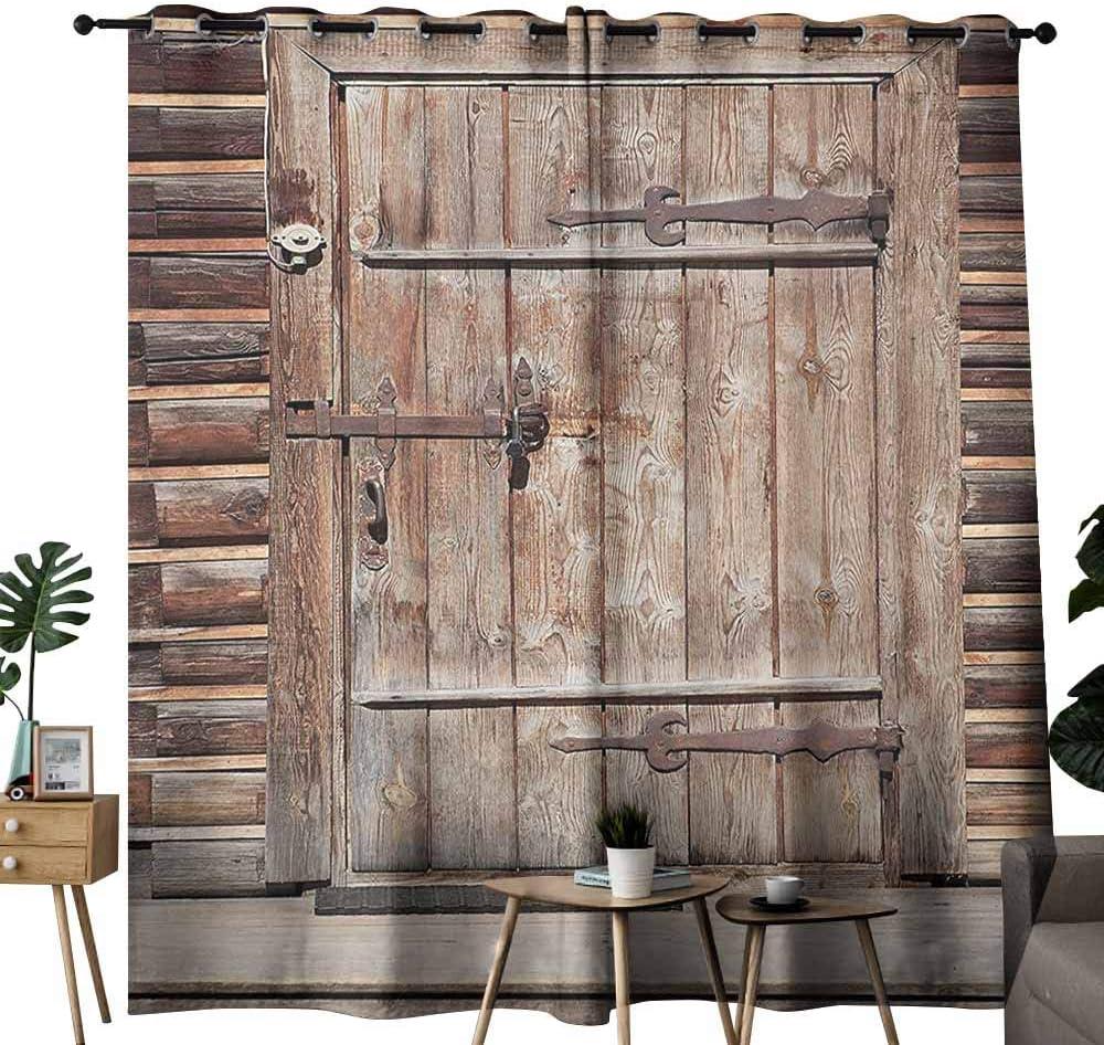 Homrkey - Cortinas personalizadas rústicas con diseño de rama de piedra de ladrillo con puerta ovalada con materiales antiguos, impresión artística, color gris y marrón, cortinas opacas para ventana de dormitorio: Amazon.es: