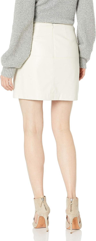 Trina Turk Damen Lianas Top Stitched Leatherette Skirt Strickrock Knochenfarben