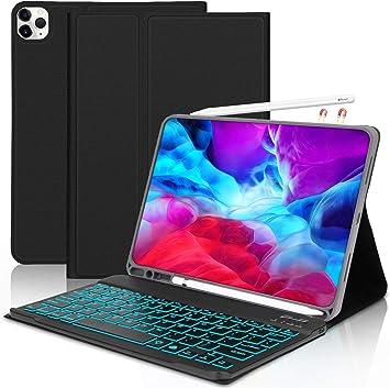 Lachesis Funda Teclado Americano para iPad Pro 11 2020(2.a generación), Funda con 7 Colores Retroiluminado Removible Wireless Teclado y Ranura para ...