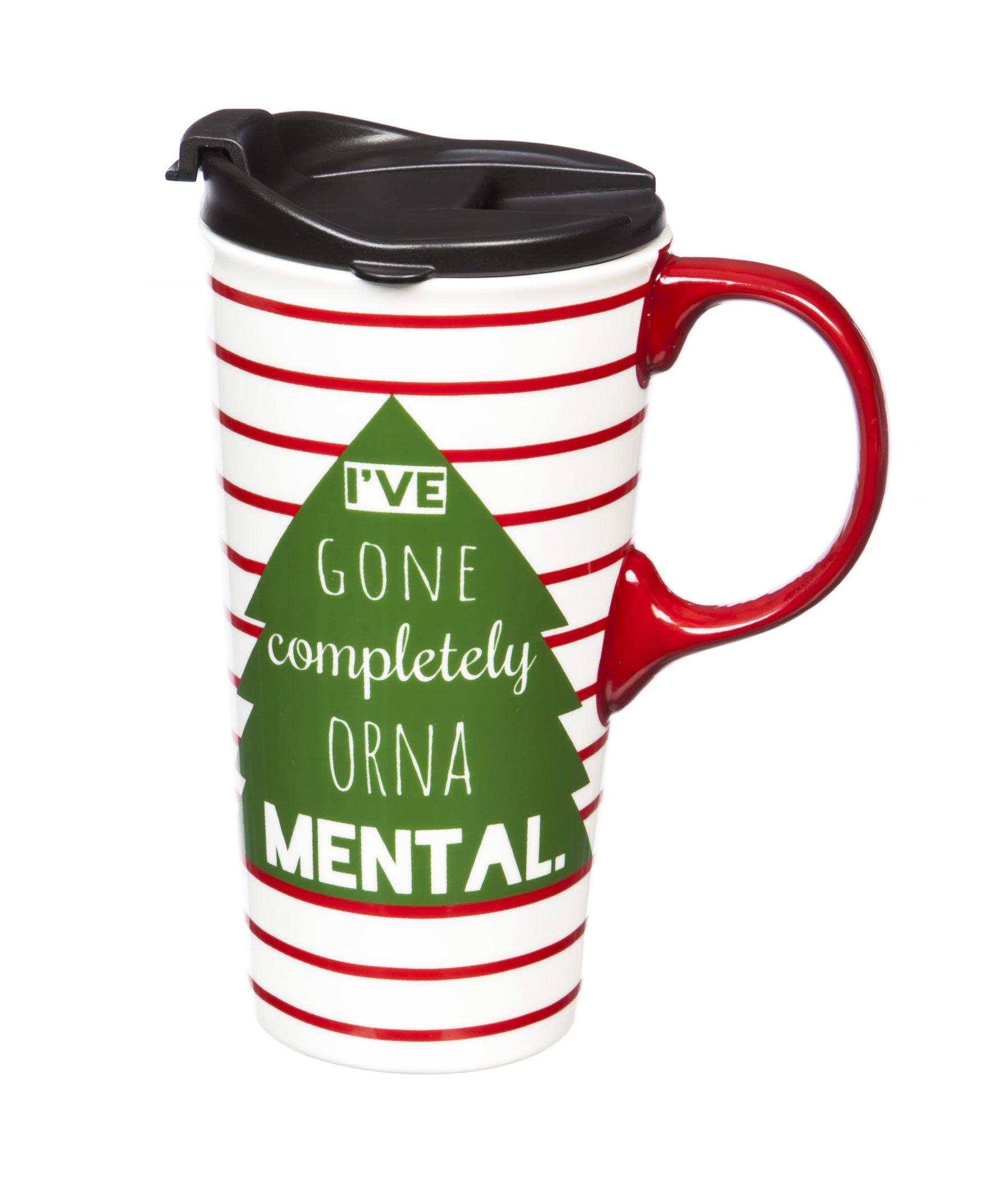 Cypress Home Orna-Mental Ceramic Travel Coffee Mug, 17 ounces