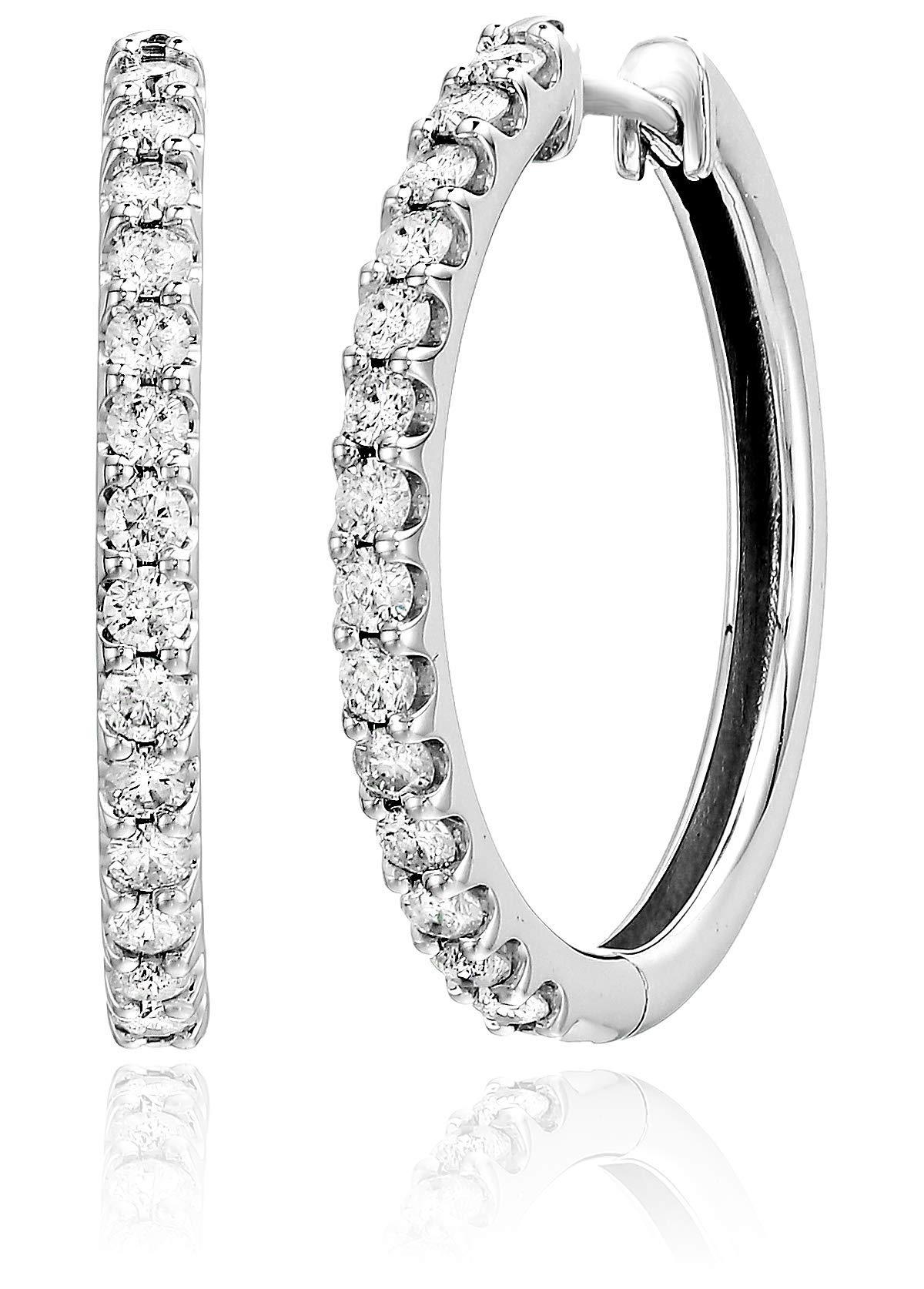1 cttw I1-I2 AGS Certified Diamond Hoop Earrings in 10K White Gold