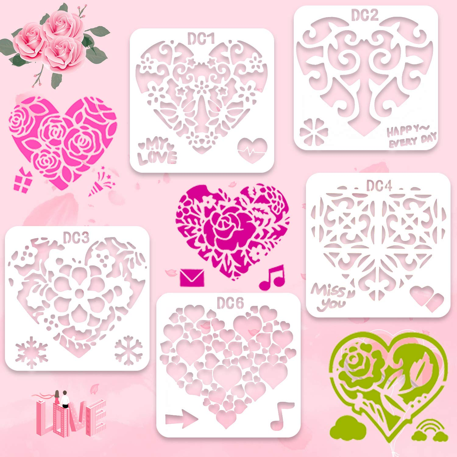 Plastic Reusable Stencils Templates for Painting Drawing DIY Art Project Wedding HOWAF 11pcs Flower Lace Love Heart Tree Leaf Stencils Templates Set for Crafting Wedding Valentines Day