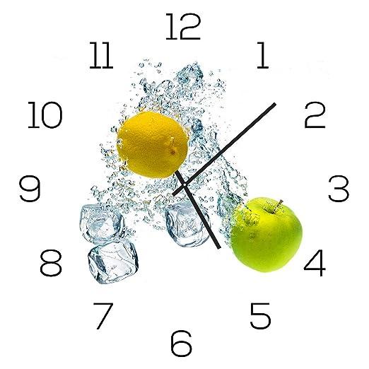 levandeo Wanduhr aus Glas 30x30cm Uhr als Glasbild Küche Zitrone ...