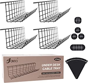 Under Desk Cable Management Tray, Cable Organizer for Wire Management, Metal Wire Cable Tray for Office and Home, 4 Pack Standing Desk Tray with 15 Cable Ties and 5 Cable Clips, Black Cord Basket 17''
