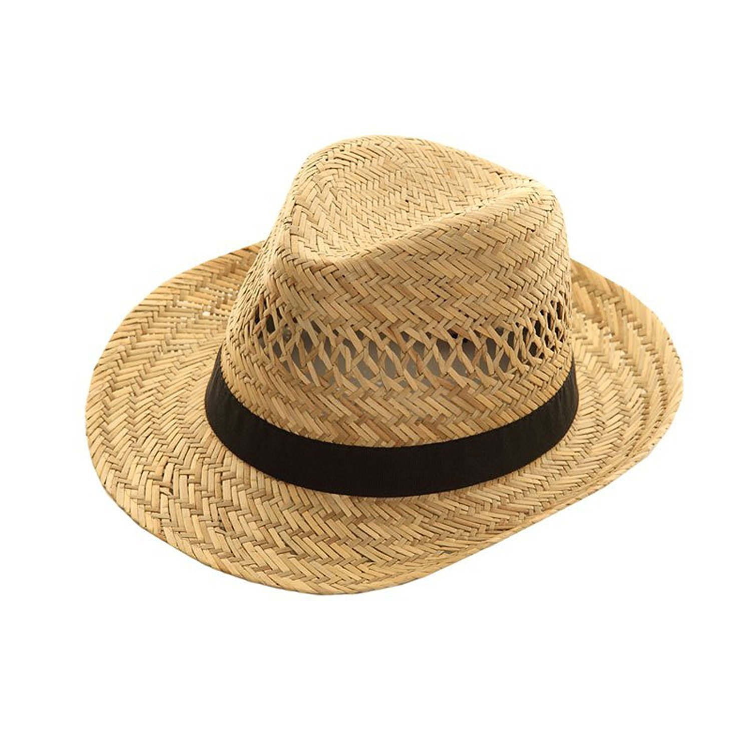 Straw Trilby Hat BLACK Band L M S MENS LADIES Sun Fedora WRAPEEZY