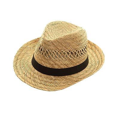 Straw Trilby Hat BLACK Band L M S MENS LADIES Sun Fedora WRAPEEZY (57cm  Small) b7d80928f0e